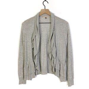 Rebecca Taylor Grey Ruffle Cardigan Sweater Medium